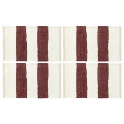 stradeXL Placemats 4 pcs Chindi Stripe Burgundy and White 30x45 cm