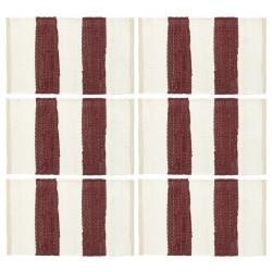 stradeXL Maty na stół, 6 szt, Chindi, paski, burgundowo-białe, 30x45 cm