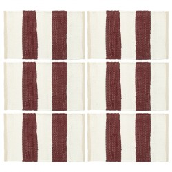 stradeXL Placemats 6 pcs Chindi Stripe Burgundy and White 30x45 cm