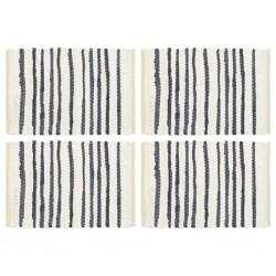 stradeXL Maty na stół, 4 szt., niebiesko-białe, 30x45 cm, bawełna