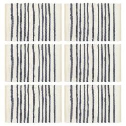 stradeXL Maty na stół, 6 szt., niebiesko-białe, 30x45 cm, bawełna