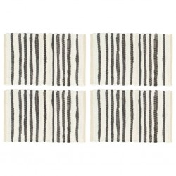 stradeXL Placemats 4 pcs Anthracite and White 30x45 cm Cotton