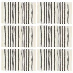 stradeXL Placemats 6 pcs Anthracite and White 30x45 cm Cotton