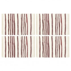 stradeXL Placemats 4 pcs Burgundy and White 30x45 cm Cotton