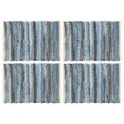 stradeXL Maty na stół, 4 szt, Chindi, niebieski dżins, 30x45 cm, bawełna