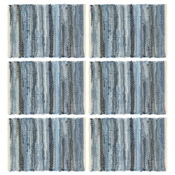 stradeXL Maty na stół, 6 szt, Chindi, niebieski dżins, 30x45 cm, bawełna