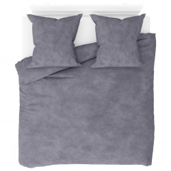 stradeXL Duvet Cover Set Fleece Grey 200x220/80x80 cm