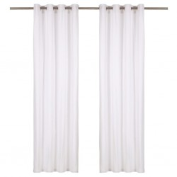 stradeXL Curtains with Metal Rings 2 pcs Cotton 140x245 cm White