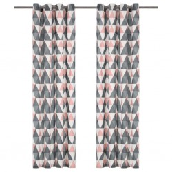 stradeXL Curtains with Metal Rings 2 pcs Cotton 140x245 cm Grey and Pink