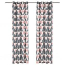 stradeXL Zasłony, metalowe kółka, 2 szt. bawełna 140x245cm, szaro-różowe