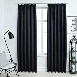 stradeXL Blackout Curtains with Hooks 2 pcs Anthracite 140x245 cm