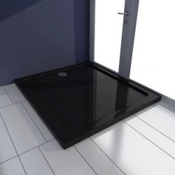 stradeXL Brodzik prysznicowy prostokątny, ABS, czarny, 80 x 90 cm