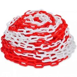 Plastikowy łańcuch ostrzegawczy, 30 m, czerwono-biały