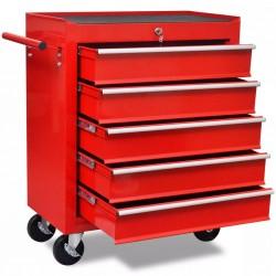 stradeXL Wózek narzędziowy/warsztatowy z 5 szufladami, czerwony