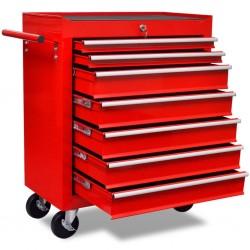 stradeXL Czerwony wózek narzędziowy/warsztatowy z 7 szufladami