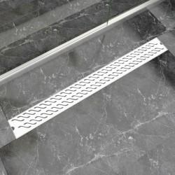 stradeXL Kratka odpływowa, liniowa, 1030x140 mm, wzór fali, stal nierdzewna