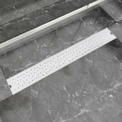 stradeXL Kratka odpływowa, liniowa, 830x140 mm, wzór w kropki, stal nierdzewna