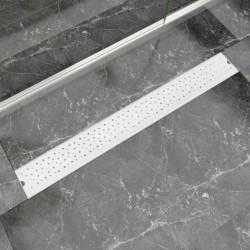 stradeXL Kratka odpływowa, liniowa, 930x140 mm, wzór w kropki, stal nierdzewna