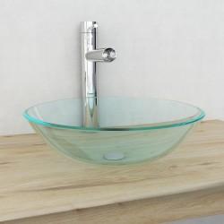 stradeXL Umywalka z bezbarwnego, hartowanego szkła 42 cm