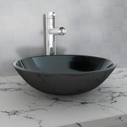 stradeXL Umywalka z czarnego, hartowanego szkła 42 cm