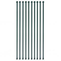 stradeXL Słupki ogrodzeniowe, 10 szt., 1 m, metalowe, zielone