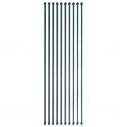 stradeXL Słupki ogrodzeniowe, 10 szt., 1,5 m, metalowe, zielone