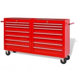 stradeXL Wózek narzędziowy z 14 szufladami, stalowy, czerwony
