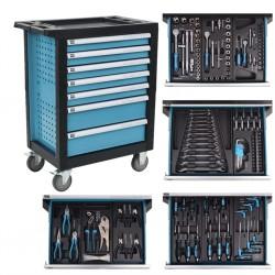 stradeXL Wózek warsztatowy z 270 narzędziami, stalowy, niebieski