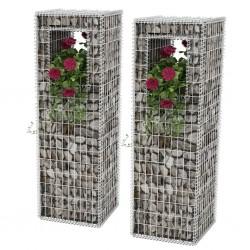stradeXL Kosze gabionowe kolumny - donice, 2 szt., 50x50x160 cm