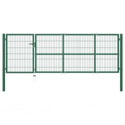 stradeXL Brama ogrodzeniowa ze słupkami, 350 x 100 cm, stalowa, zielona