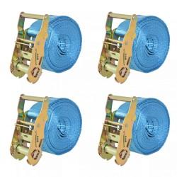 stradeXL Taśmy mocujące z napinaczami, 4 szt., 2 T, 6m x 38mm, niebieski