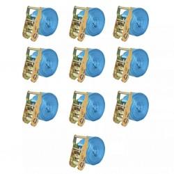 stradeXL Taśmy mocujące z napinaczami, 10 szt, 2 T, 6mx38mm, niebieskie