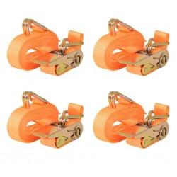stradeXL Taśmy mocujące z napinaczami, 4 szt, 0,4 T, 6mx25mm, pomarańcz