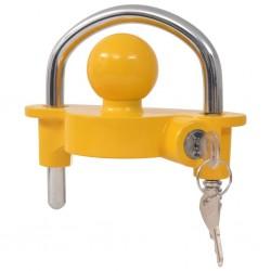stradeXL Blokada zaczepu kulowego z 2 kluczami, stal i aluminium, żółta