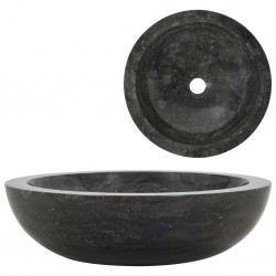 stradeXL Umywalka, 40 x 12 cm, marmurowa, czarna