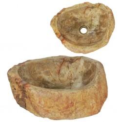 stradeXL Umywalka, 45 x 35 x 15 cm, skamieniałe drewno, kremowa