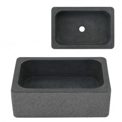 stradeXL Umywalka, 45 x 30 x 15 cm, kamień rzeczny, czarna