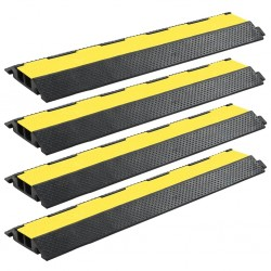 stradeXL Cable Protector Ramps 4 pcs 2 Channels Rubber 101.5 cm