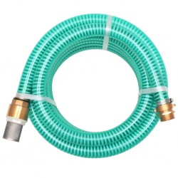 stradeXL Wąż ssący z mosiężnymi złączkami, 7 m, 25 mm, zielony