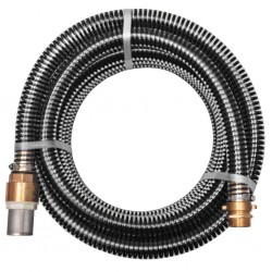 stradeXL Suction Hose with Brass Connectors 4 m 25 mm Black