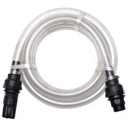 stradeXL Wąż ssący ze złączkami, 7 m, 22 mm, biały