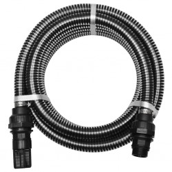 stradeXL Suction Hose with Connectors 4 m 22 mm Black
