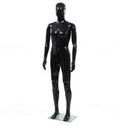 stradeXL Manekin męski ze szklaną podstawą, czarny, błyszczący, 185 cm