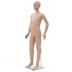 stradeXL Manekin dziecięcy ze szklaną podstawą, beż, błyszczący, 140 cm