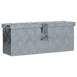stradeXL Aluminiowa skrzynia, 48,5 x 14 x 20 cm, srebrna