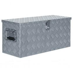 stradeXL Aluminiowa skrzynia, 80 x 30 x 35 cm, srebrna