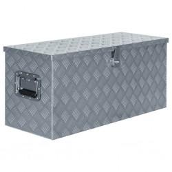stradeXL Aluminiowa skrzynia, 90,5 x 35 x 40 cm, srebrna