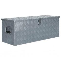 stradeXL Aluminiowa skrzynia, 110,5 x 38,5 x 40 cm, srebrna
