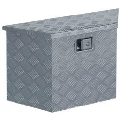 stradeXL Aluminiowa skrzynia, 70 x 24 x 42 cm, trapezowa, srebrna