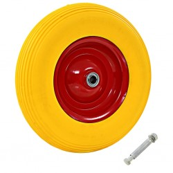 stradeXL Wheelbarrow Wheel with Axle Solid PU 4.00-8 390 mm